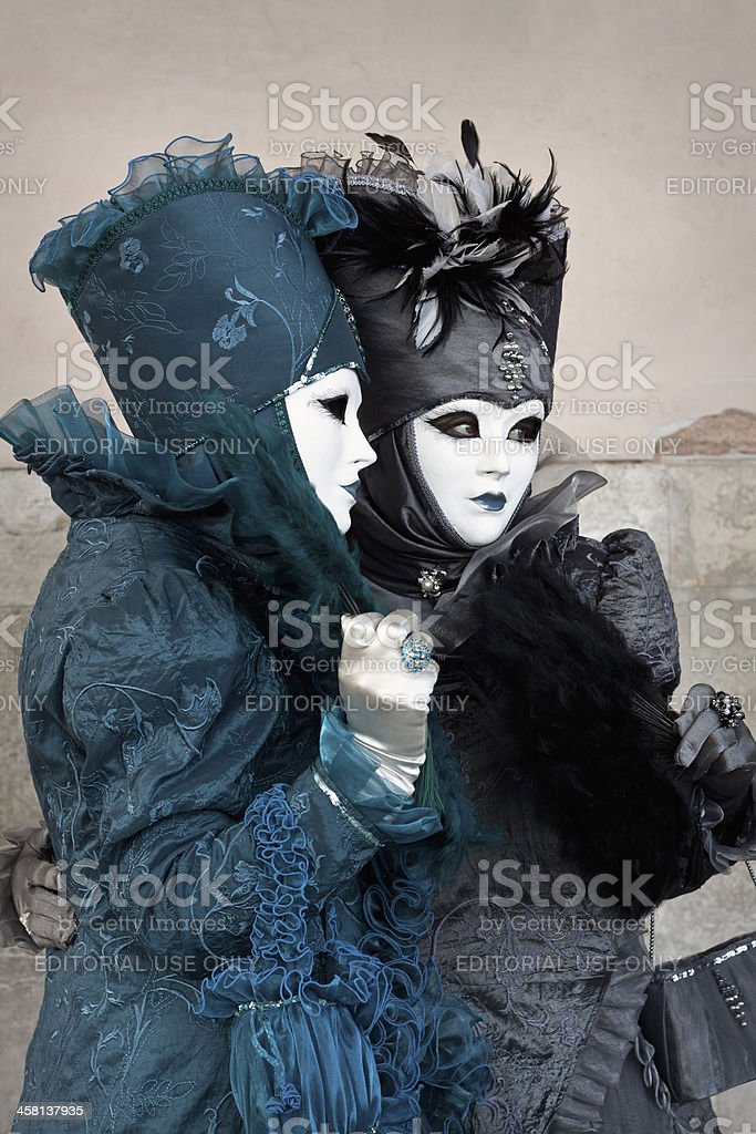 Two costumed women at Venice Carnival 2011 royalty-free stock photo
