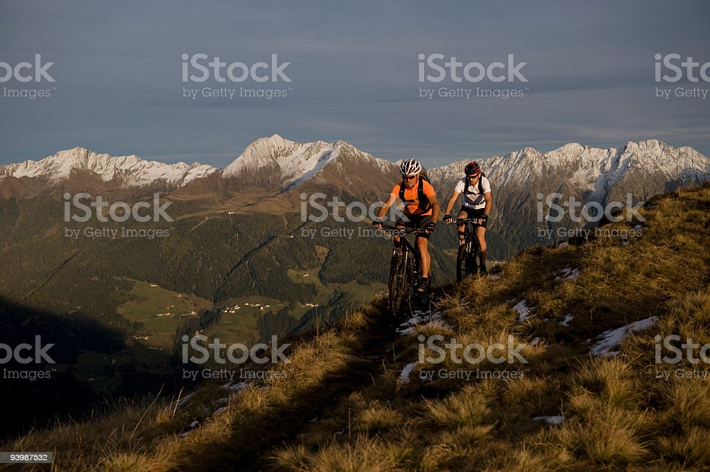 Two couple Biking in nature stock photo