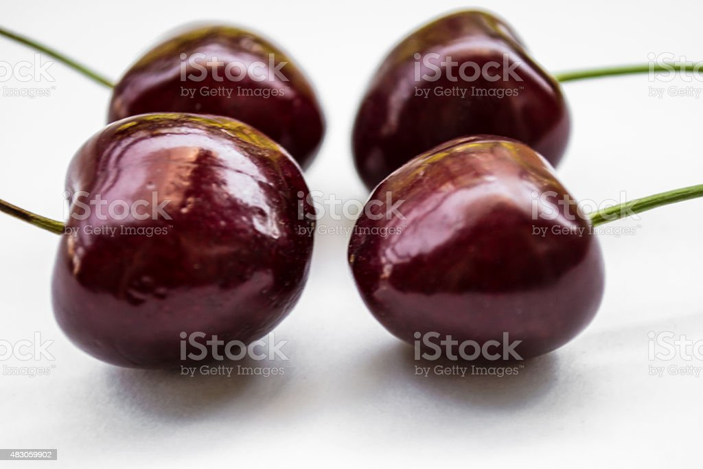 two couple sweet cherries, close-up stock photo