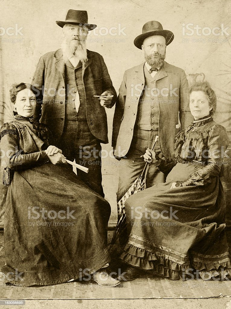 Two Couples in 1901.Sepia Toned royalty-free stock photo