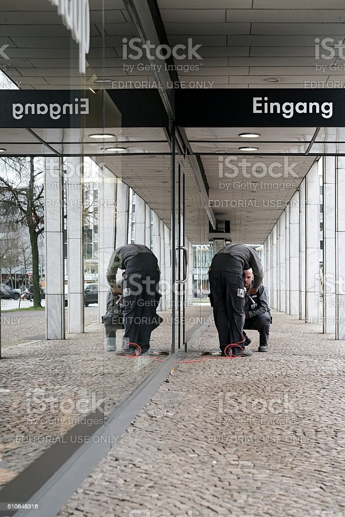 two craftsmen in Hannover stock photo