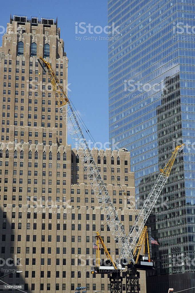 Two Cranes at Ground Zero royalty-free stock photo