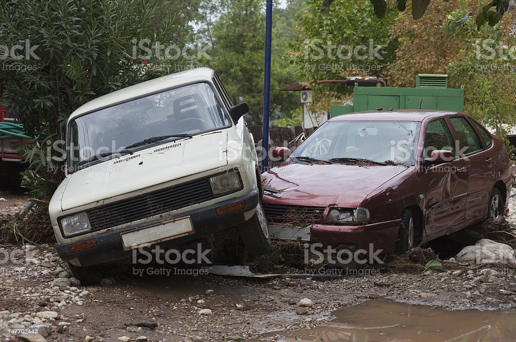 Two Crashed Cars royalty-free stock photo