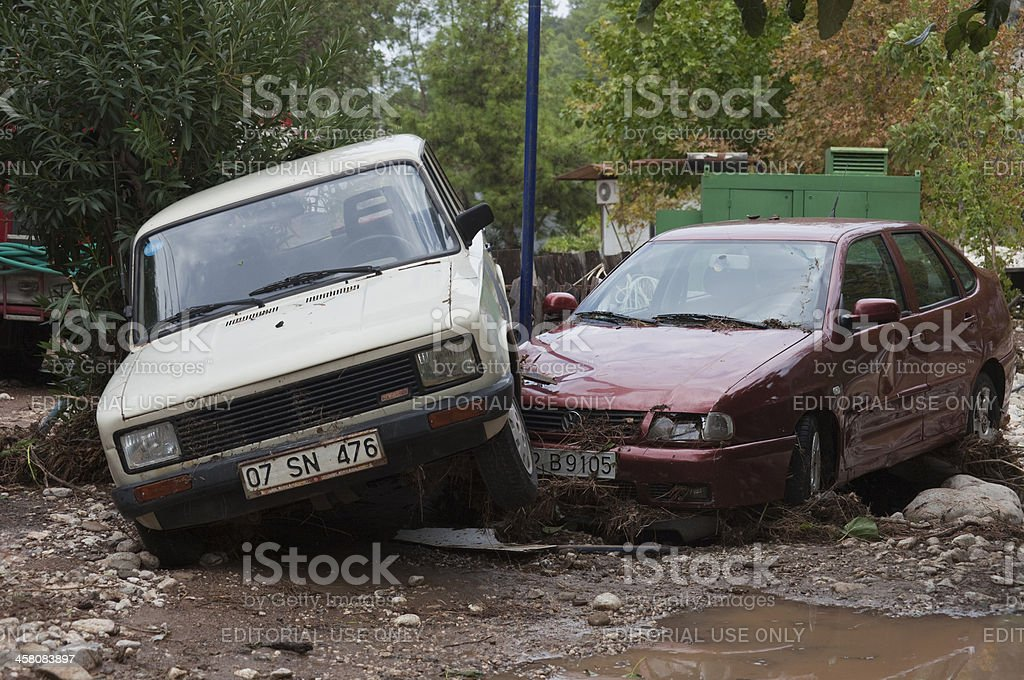 Two Crashed Cars stock photo