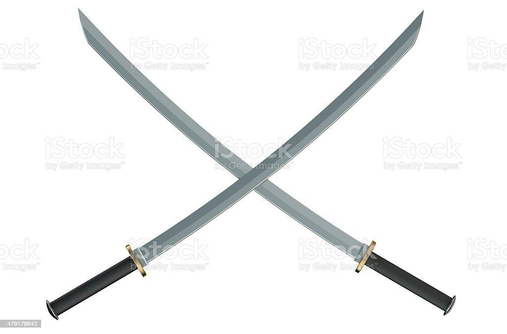 Two crossed Japanese samurai katana swords stock photo