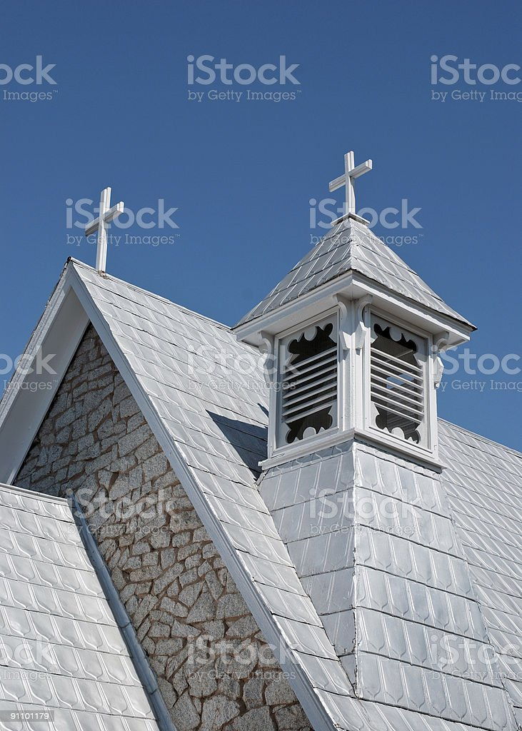 Two Crosses on a Metal Roof stock photo