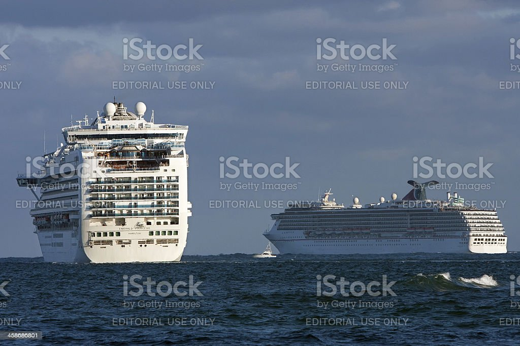 Two Cruise Ships Depart Ft. Lauderdale royalty-free stock photo