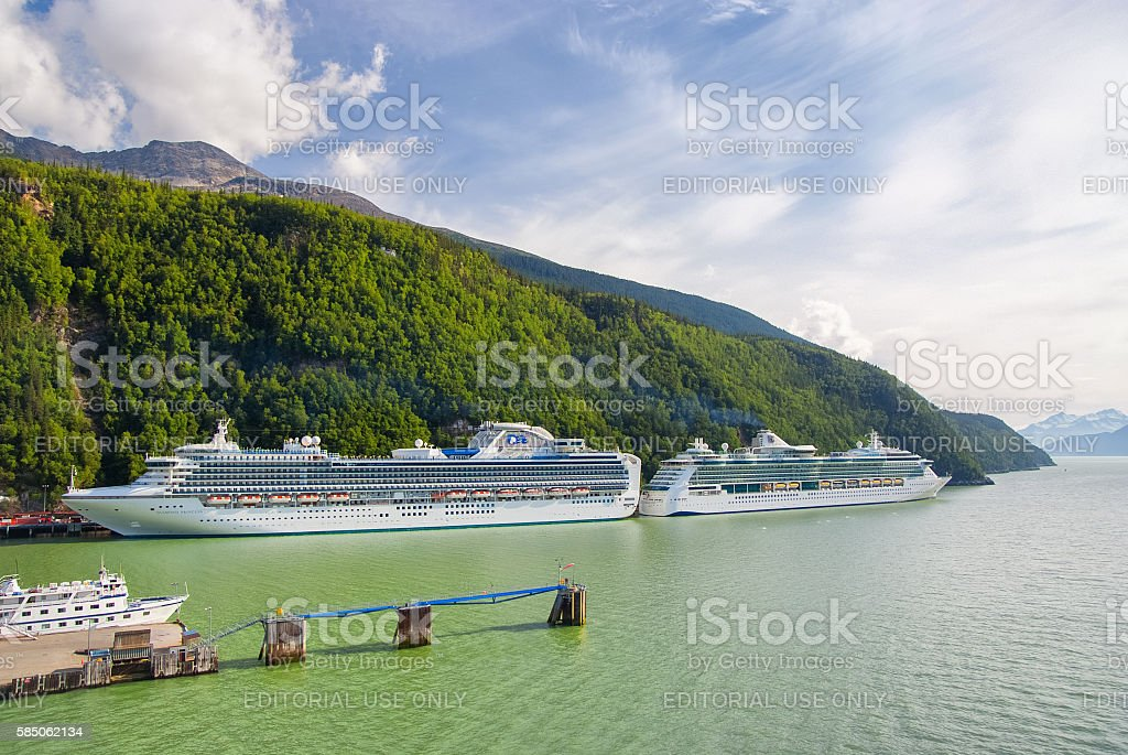 Two Cruise Ships Docked in Skagway, Alaska stock photo