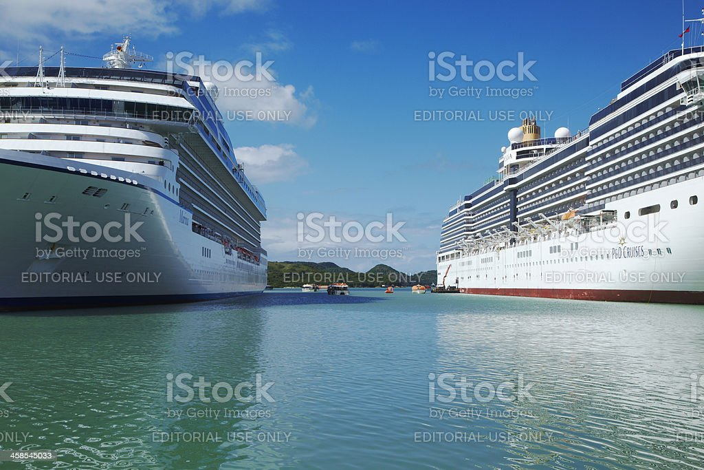 Two Cruise Ships in St John, Antigua Harbor, Caribbean royalty-free stock photo