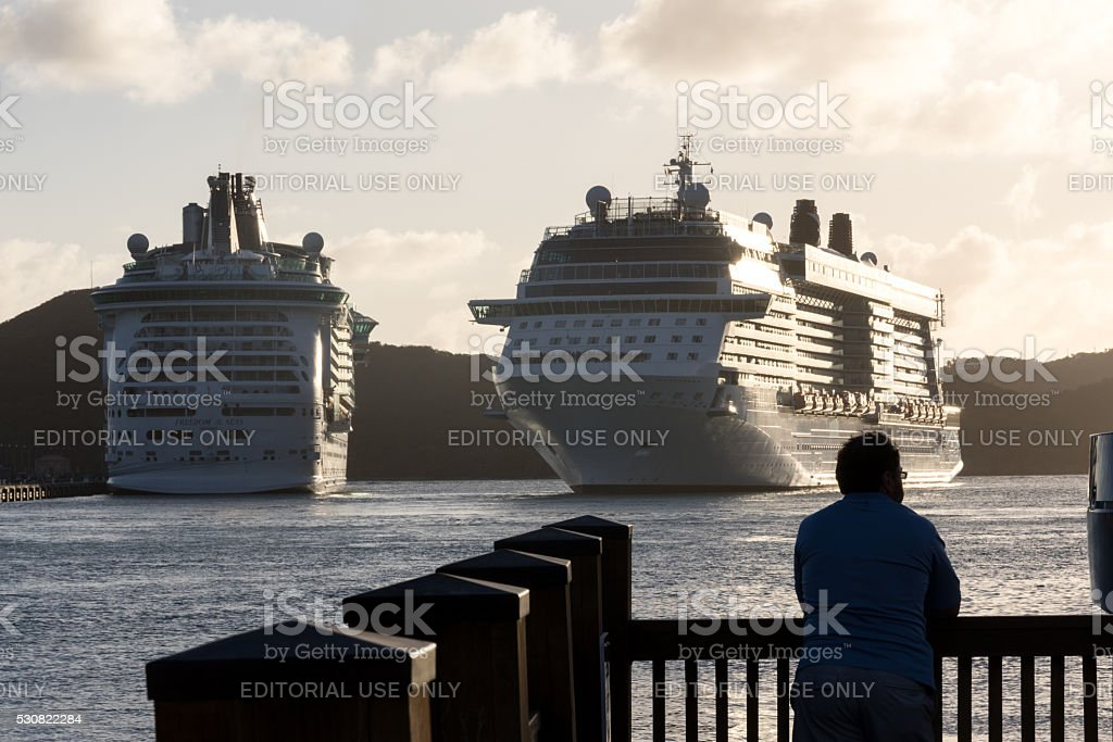 Two Cruise ships in the harbour in St Thomas stock photo
