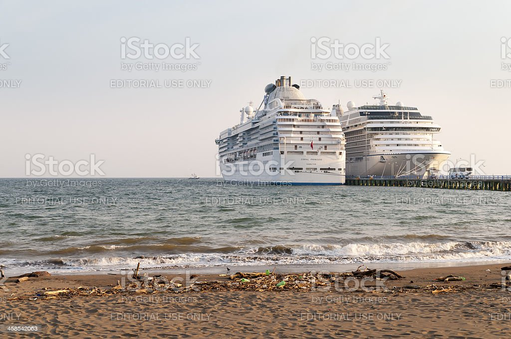 Two cruise ships stock photo