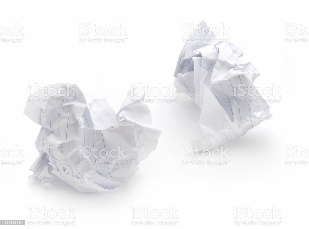 Two crumbled paper balls on white royalty-free stock photo