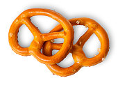 Two crunchy pretzels with salt on each other