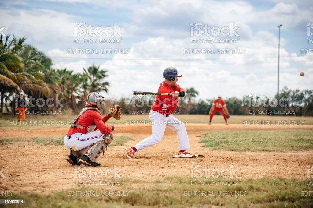 two cuban baseball players on trainings ground in Varadero stock photo