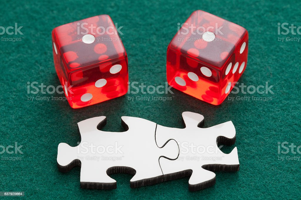 Two cubes and puzzle stock photo