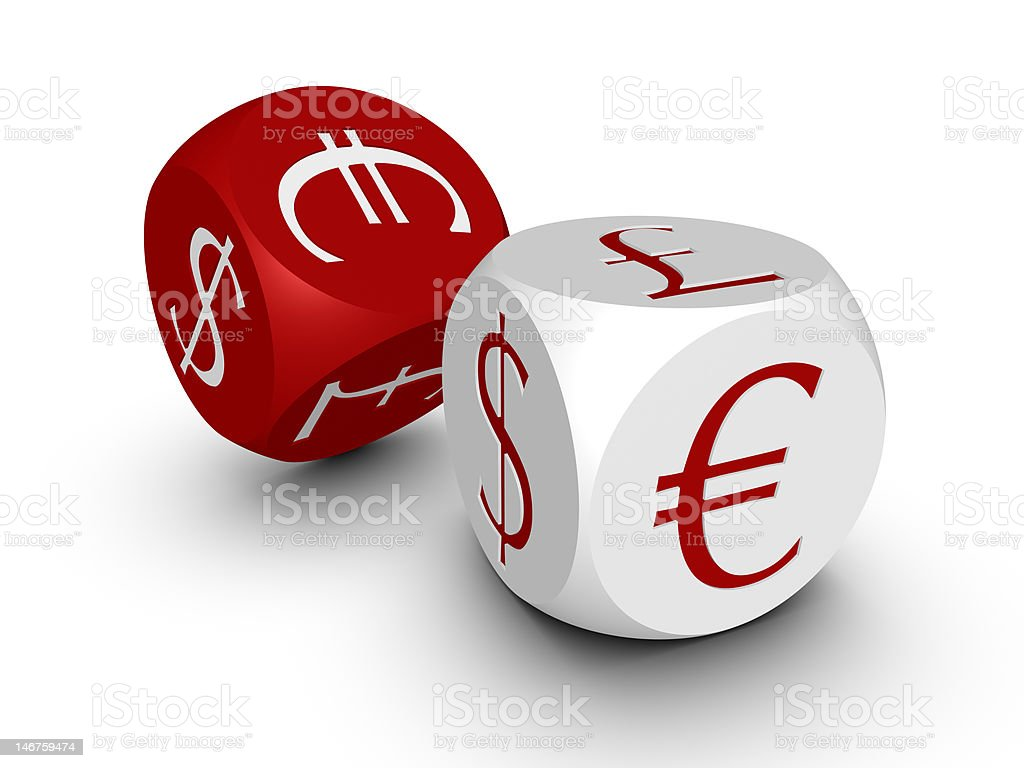 Two cubes with currency symbols royalty-free stock photo