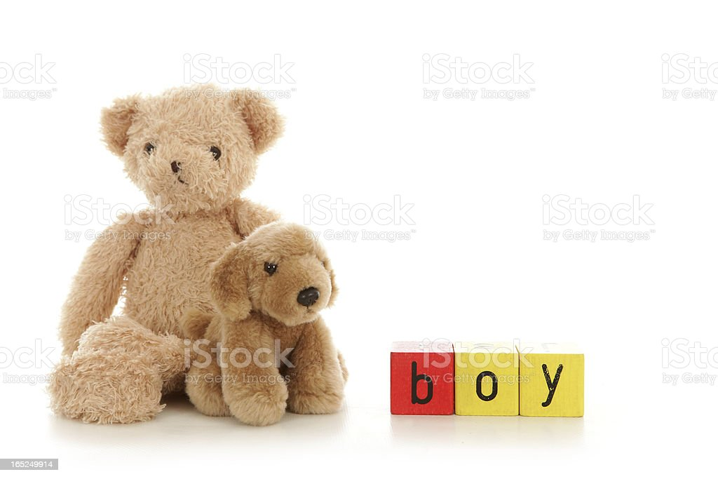 Two cuddly oys sat beside colourful alphabet blocks. royalty-free stock photo
