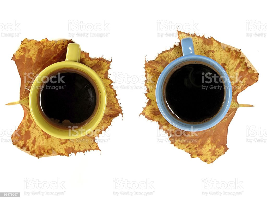 Two cup of coffee, autumn concept royalty-free stock photo