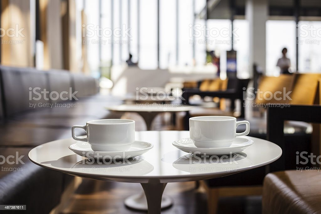 Two Cup of coffees at coffee shop stock photo