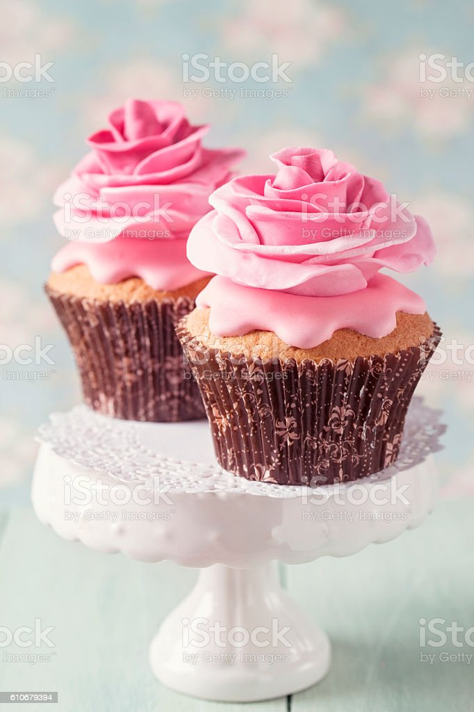 Two cupcakes with rose stock photo