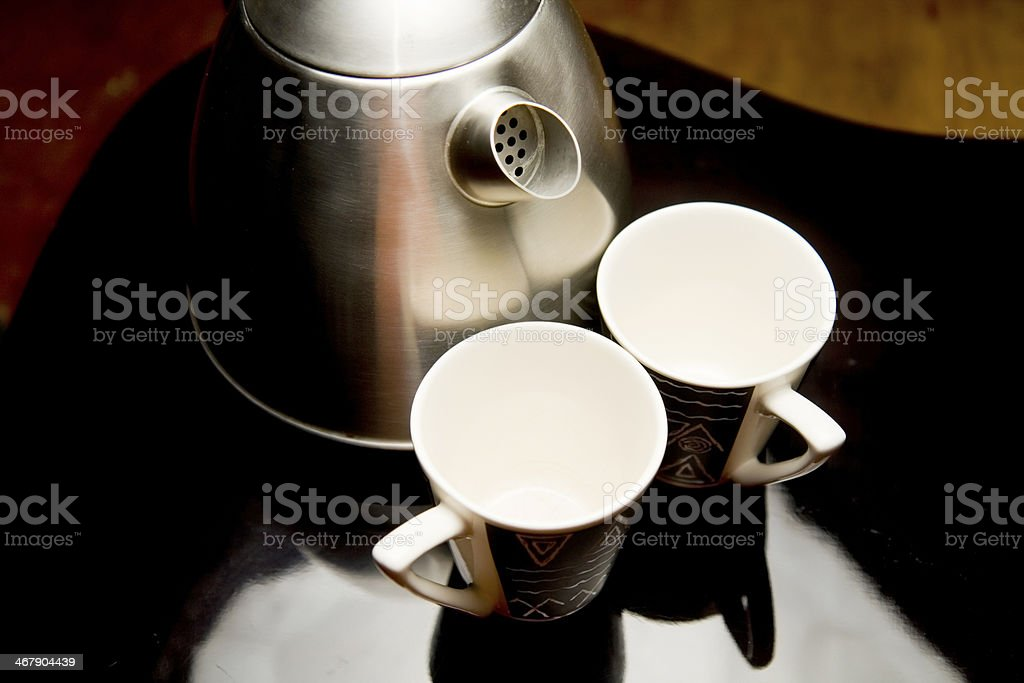 Two cups and kettle royalty-free stock photo