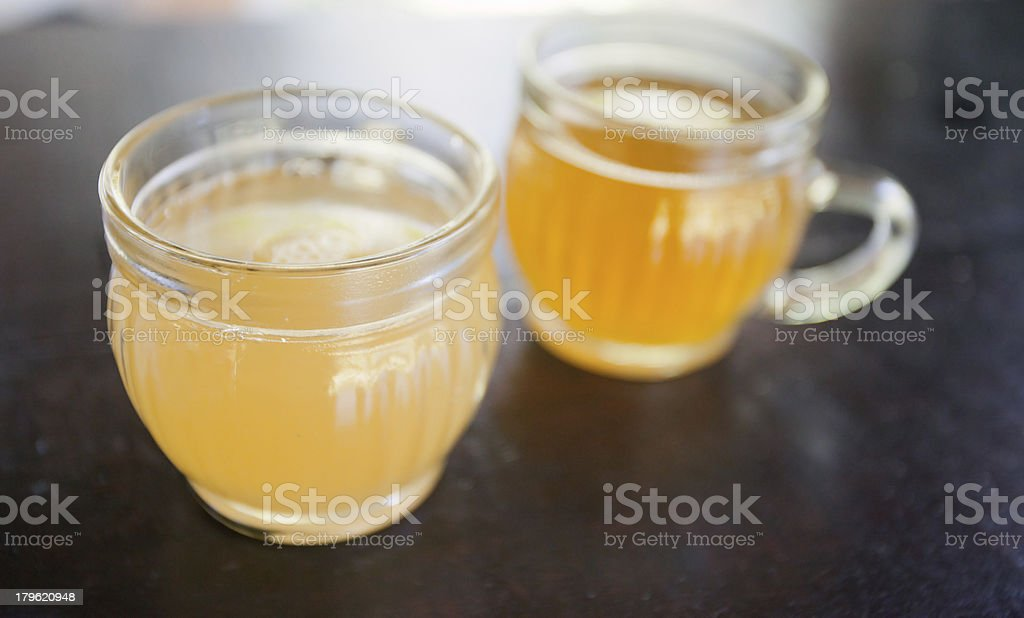 Two cups of aromatic tea stock photo