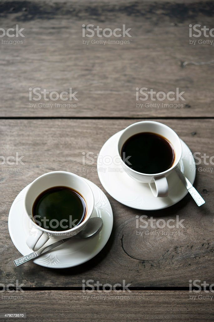 Two cups of black coffee stock photo