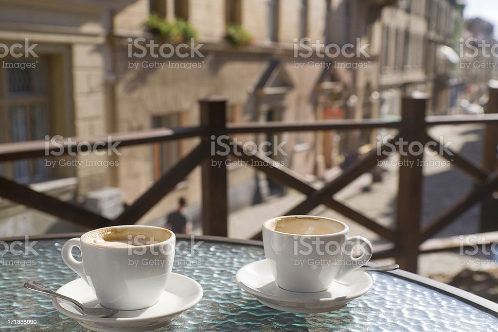 Two cups of Cappuccino in outside cafe royalty-free stock photo