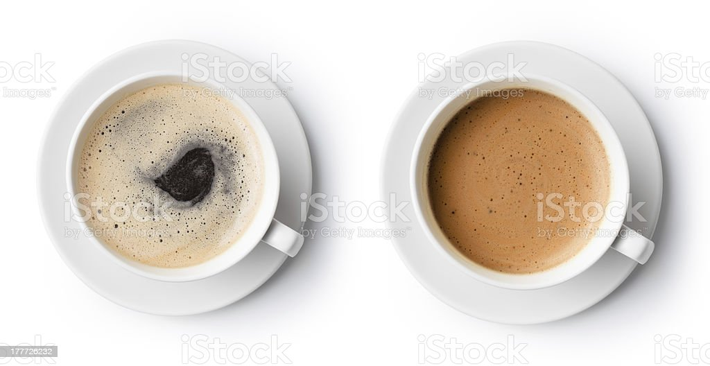 two cups of coffee isolated on white, top view stock photo