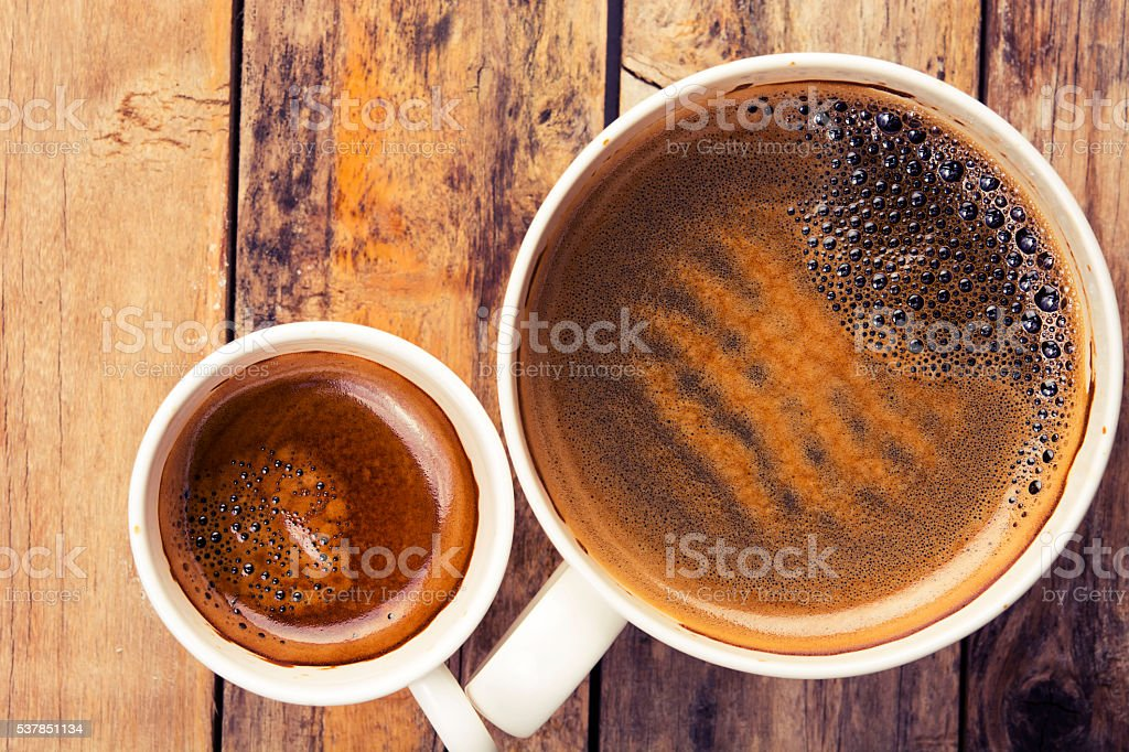 Two cups of coffee on timber background, top view stock photo