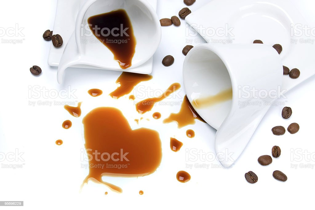 Two cups of coffee on white background stock photo