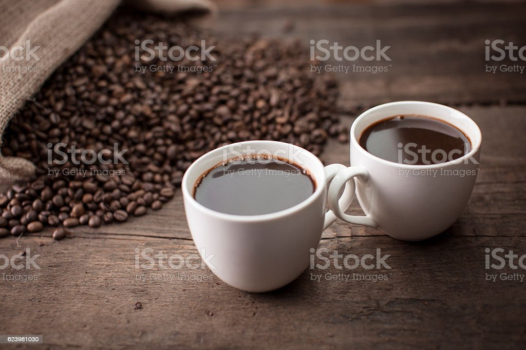 Two cups of coffee stock photo