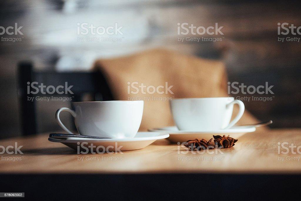 Two cups of gourmet coffee house cappuccino stock photo