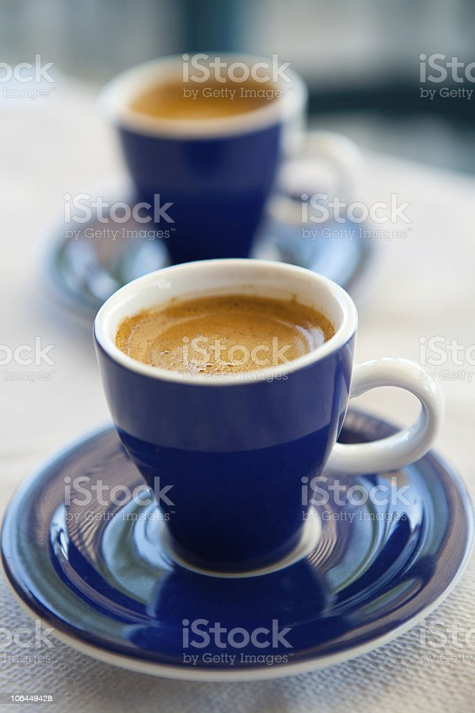 Two cups of greek coffee stock photo