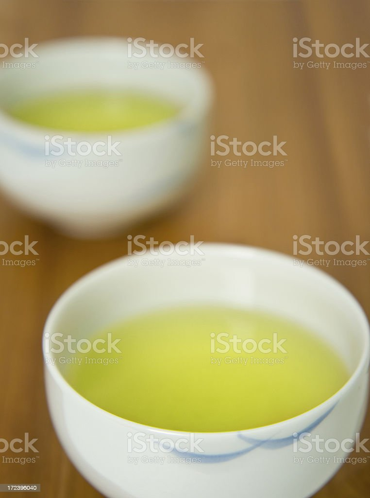 Two cups of green tea royalty-free stock photo