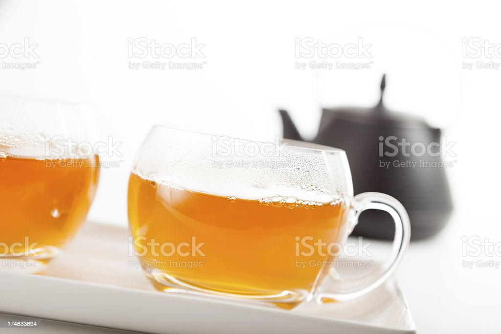 Two cups of hot tea royalty-free stock photo