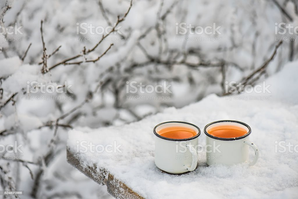 Two cups of mulled cider stock photo
