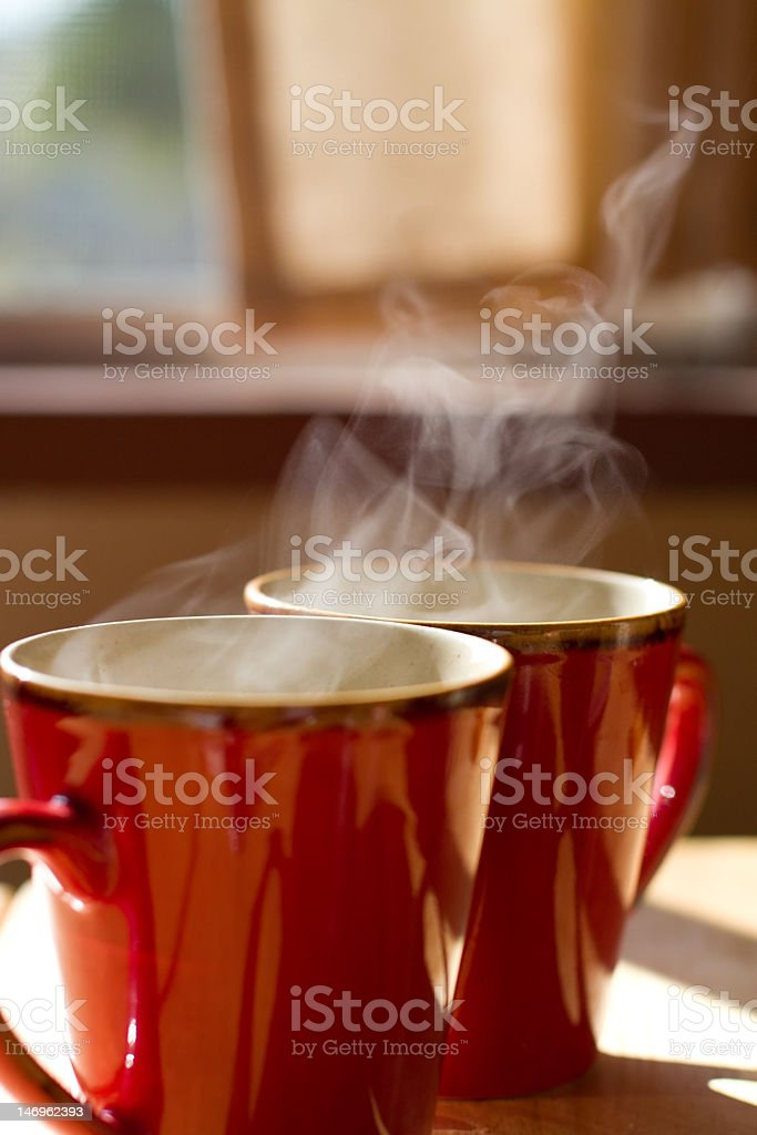 Two Cups of Steamy Coffee (XXL) royalty-free stock photo