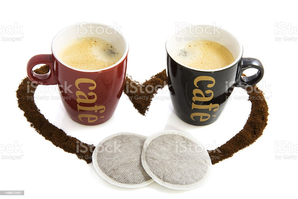 Two cups with coffee royalty-free stock photo