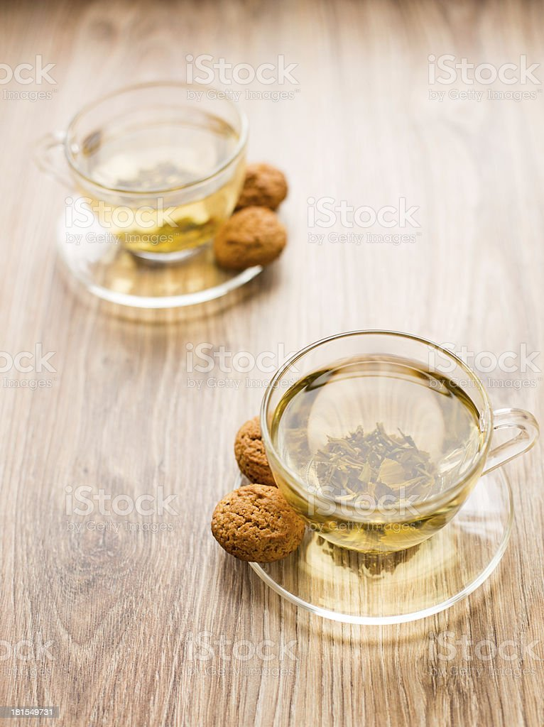 Two cups with green tea royalty-free stock photo
