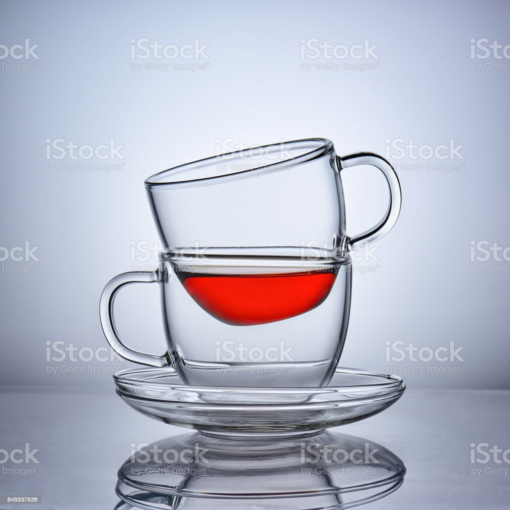 Two Cups With Saucers stock photo
