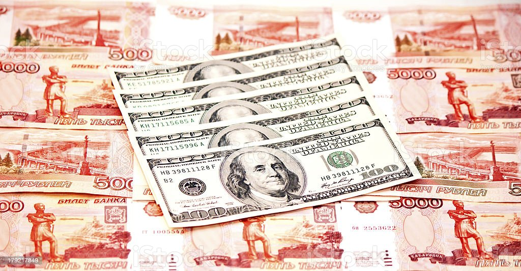 Two currencies - US Dollar and ruble royalty-free stock photo