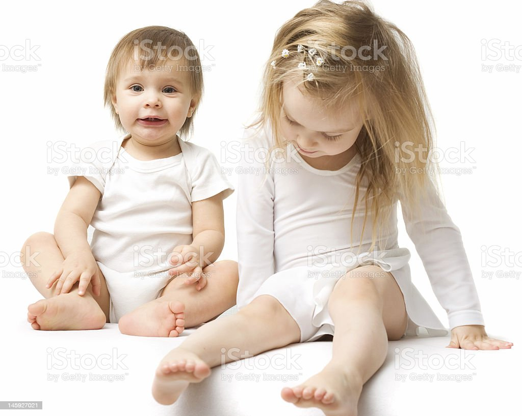 Two cute babies royalty-free stock photo
