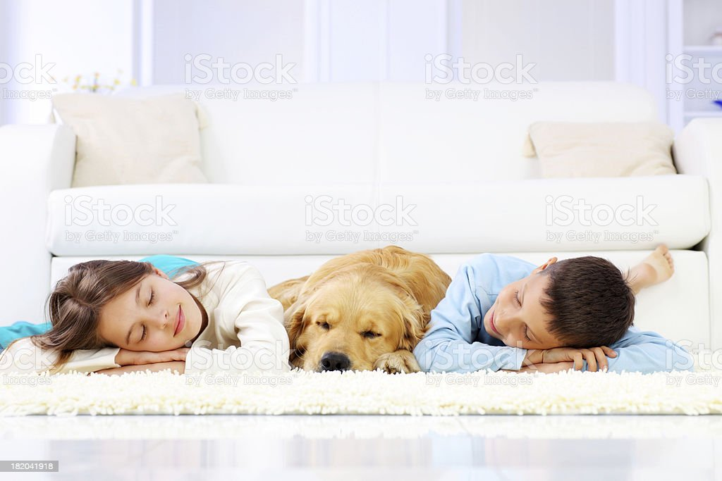 Two cute children and dog sleeping down on white carpet. stock photo