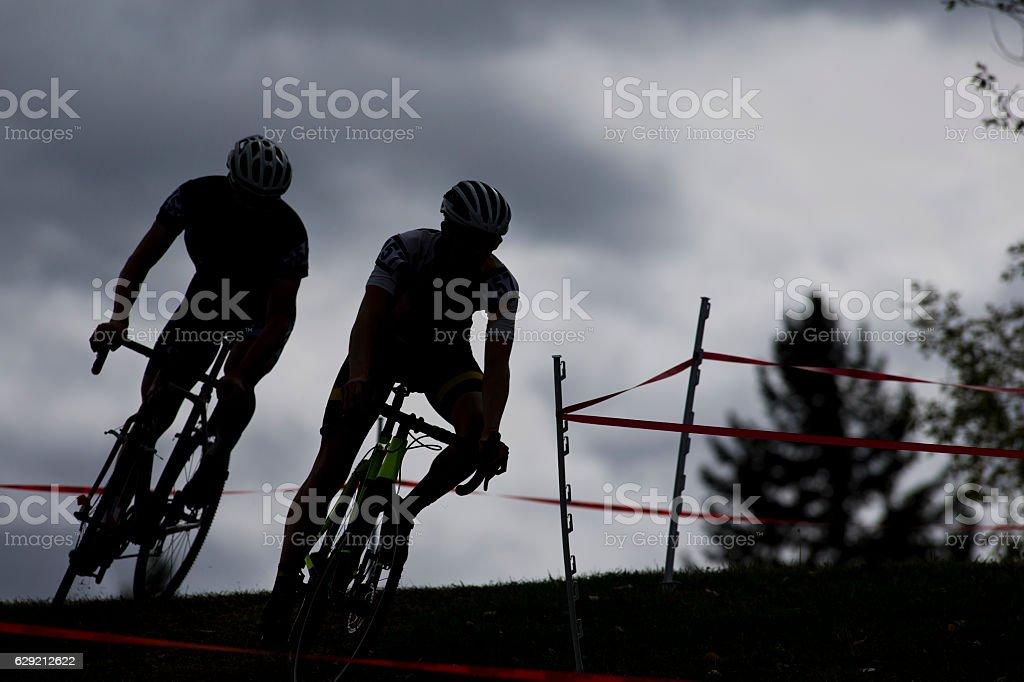 Two Cyclo-Cross Racers stock photo