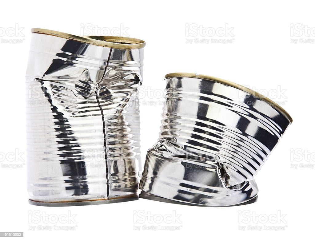 Two damaged tin cans royalty-free stock photo