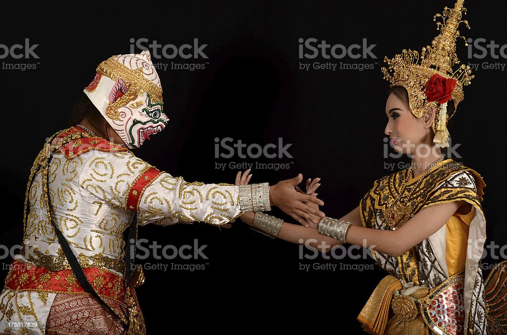 Two Dancer in the epic Ramayana, Thailand stock photo