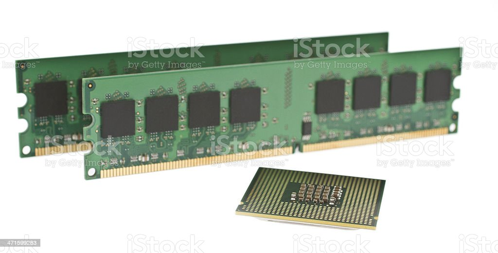 two ddr2 memory modules and a cpu royalty-free stock photo