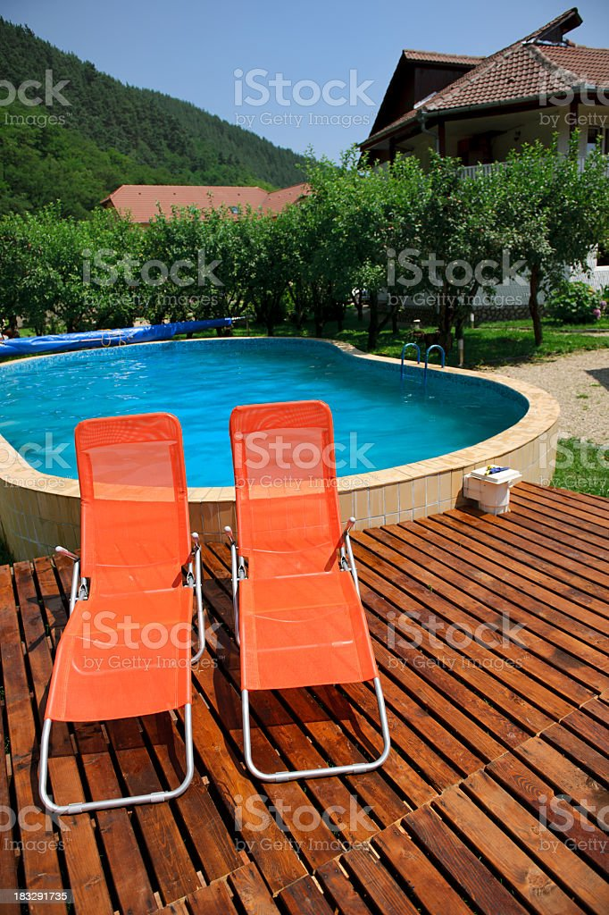 two deck chairs royalty-free stock photo