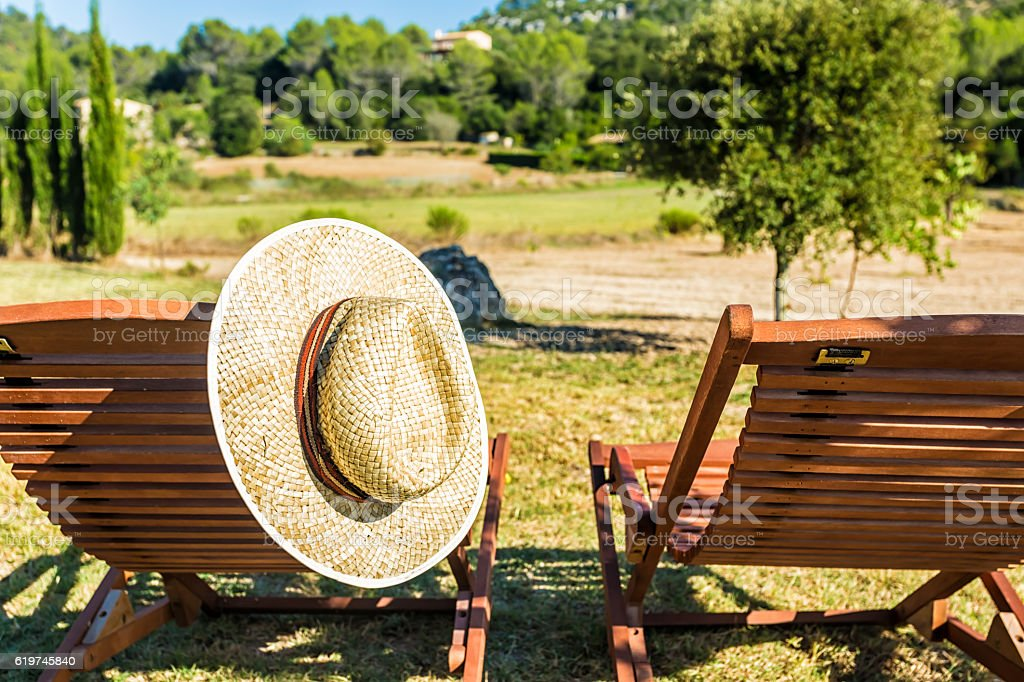 Two deck chairs with beautiful view in Mallorca stock photo